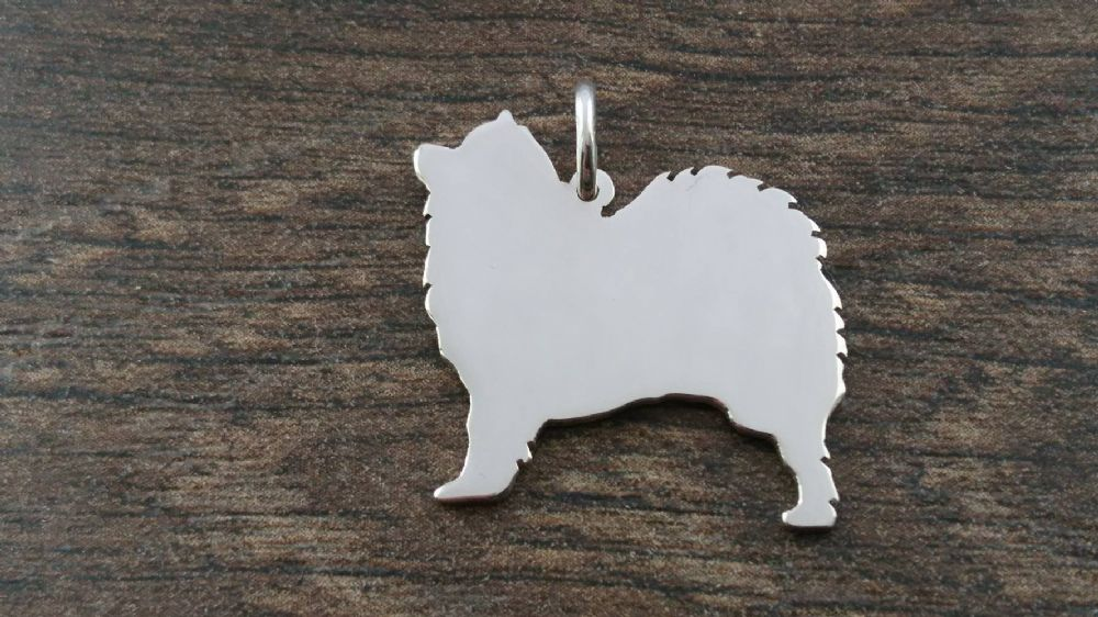 Samoyed Dog Charm Silhouette Solid Sterling Silver